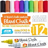 Image of Blami Arts Chalk Markers Reversible Tip for Non-Porous Chalkboard and Bistro Glass Windows - 12 Pack Erasable Neon Bright Non-Toxic Paint -Extra GOLD & SILVER Liquid Ink Pens - Eraser Sponge included