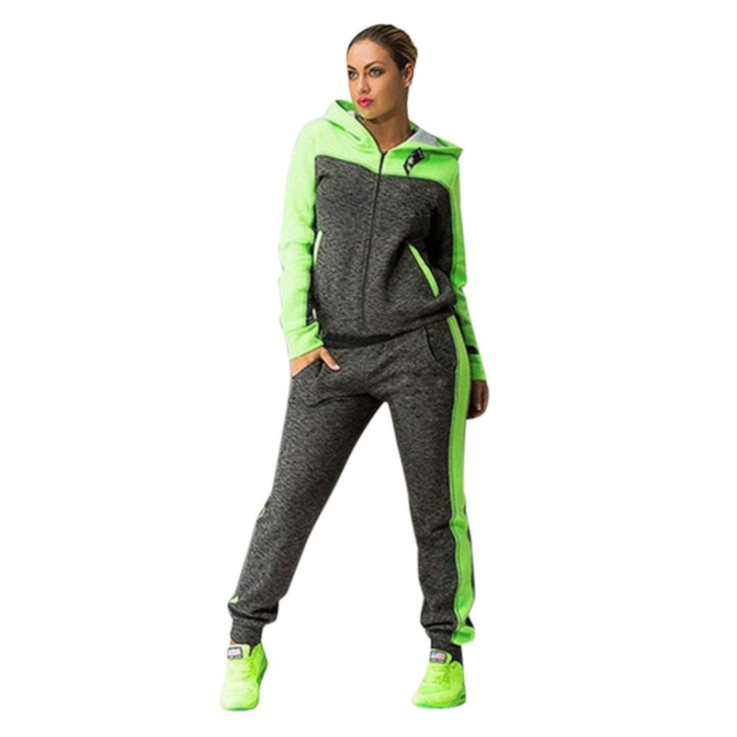 Kixing TM Women Two Piece Set Hooded Sweatshirt Suits Tracksuits Sweatpants (Green, S)