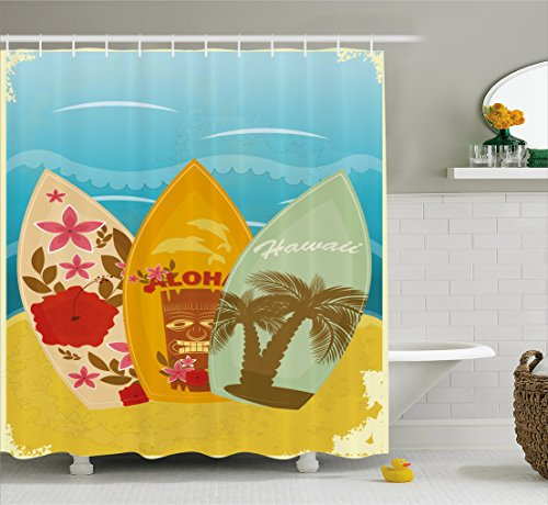 Ambesonne Tiki Bar Decor Shower Curtain, Hawaiian Beach Surfboards on Sand Exotic Summer Vacation Sport Vintage Style, Fabric Bathroom Decor Set with Hooks, 70 Inches, (Beach Tiki Bath)