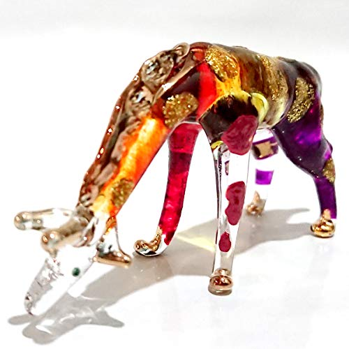 Sansukjai Giraffe Stoop Miniature Figurines Animals Hand Painted Blown Glass Art 22k Gold Trim Collectible Gift Decorate, Multi-Orange ()