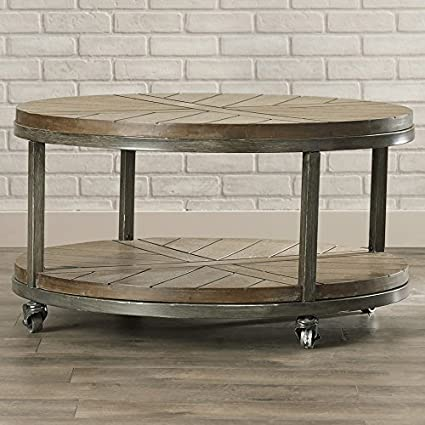 Amazon Com Vintage Round Coffee Table With Industrial Casters Wood