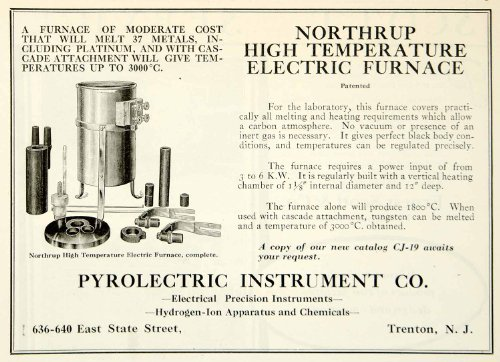 1922 Ad Pyrolectric Instrument Northrup Electric Furnace Science Laboratory - Original Print Ad