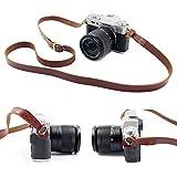 SUSUMU カメラストラップ 前掛け 肩掛け 本革 高級感 調節可能 便携式 for SLR Camera Nikon Canon,Sony,Pentax,Fuji,Sonyなど(茶褐)