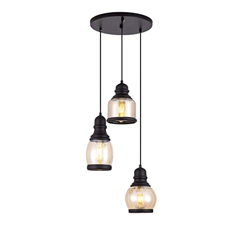 Beau SHENGYADI 3 Light Antique Tawny Glass Jar Multi Pendant Lights Hand Blown  Glass Kitchen Island