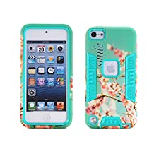 iPod Touch 5&6th Generation case,JinLi Flower Painting Design Hybird 3in1 Heavy Duty Outter Hard Plastic Shell with Inner Soft Silicon Shockproof Rubber Back Bumper Cover for Touch 5 (green)