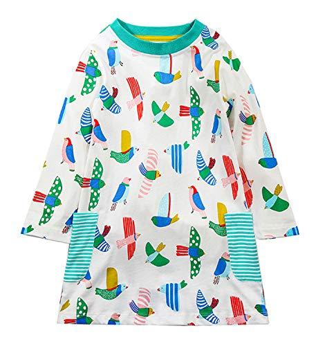 GSVIBK Little Girls Cotton Dresses Long Sleeve Cute