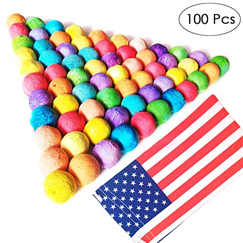 TOPRADE Multiple Color Paper Pellets Balls Bobbles Slingshot Ammo with US National Flag Portable Bag Safe Ammo for Children Enjoy Family Time (100pcs)