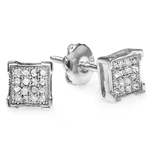 0.06 Carat (ctw) Sterling Silver White Diamond V Prong Square Mens Hip Hop Iced Stud Earrings 0.06 Ct White Diamond