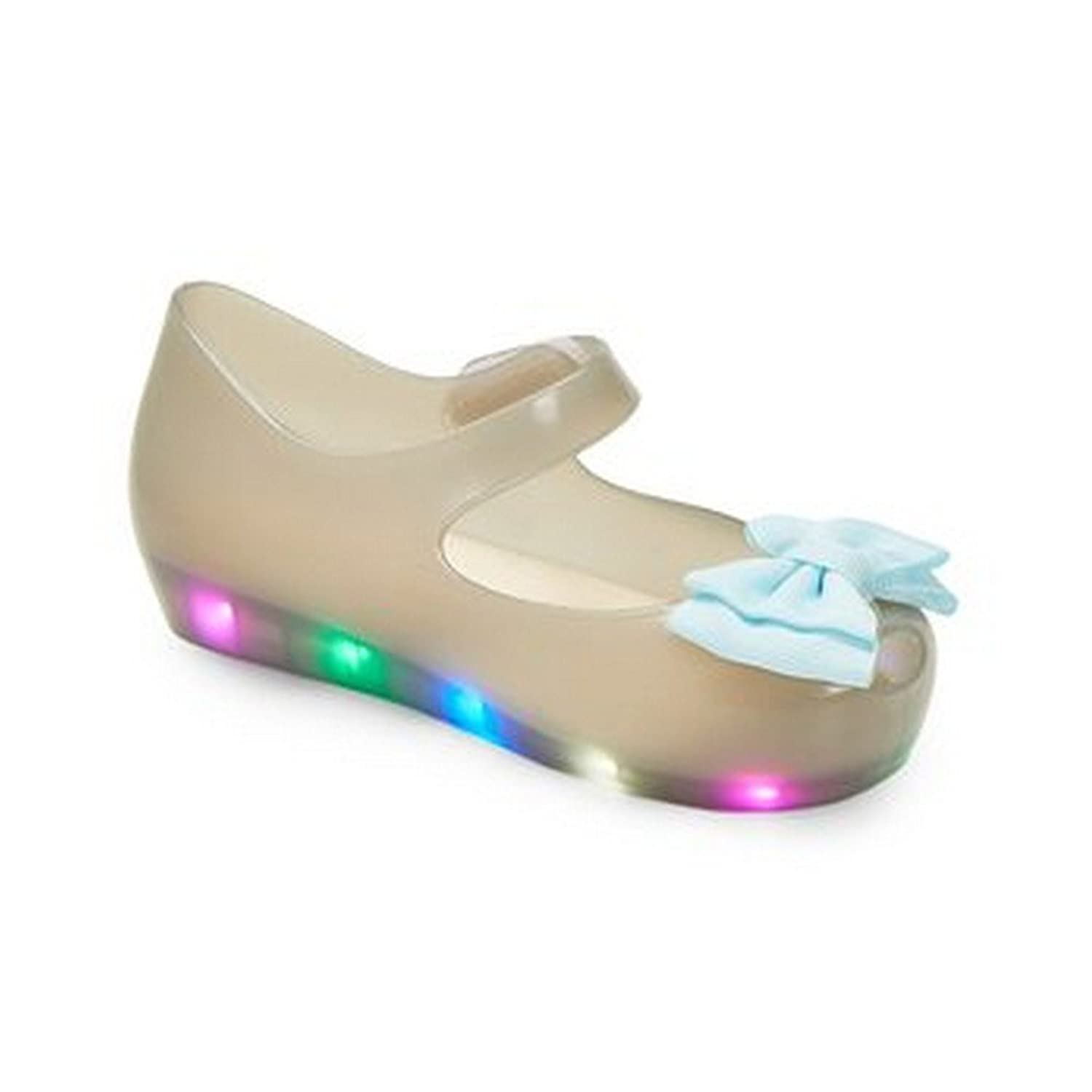 American Dog Little Girls Gray LED Light Up Flashing Bow Jelly Shoes 6 Toddler-11 Kids