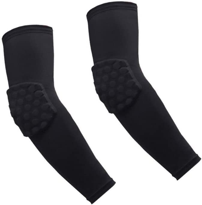 OWIKAR 1 Pair / 2 Pcs Honeycomb Elbow Pads Crashproof Arm Sleeves Basketball Football Volleyball Protector Padded Support Elbow Brace Shin Guards Protective Gear for Girls Boys Kids Men