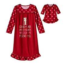 Cookies 4 Santa Red Holiday Nightgown with Matching Doll Gown