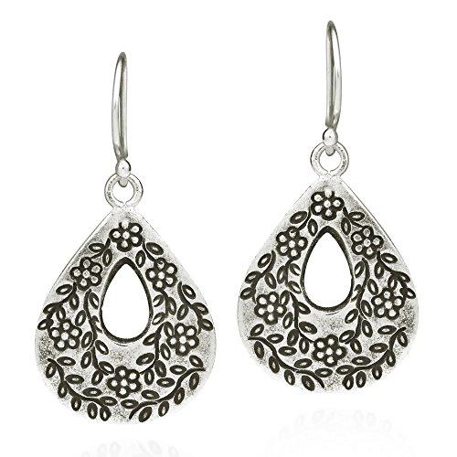 Thai Silver Flower - Teardrop Intricate Edged Flower Vine Thai Karen Handmade Sterling Silver Dangle Earrings