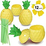 Hogue WS LLC Plastic Pineapple Luau Cups for Fun Hawaiian Children's Parties – Bulk 12 Pack – Includes Straws – Tiki Beach Theme Party Supplies (1 Dozen)