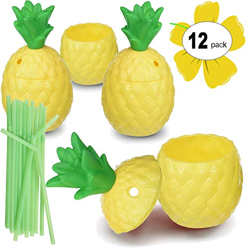 Hogue WS LLC Plastic Pineapple Luau Cups for Fun Hawaiian Children's Parties – Bulk 12 Pack – Includes Straws – Tiki Beach Theme Party Supplies (1 -