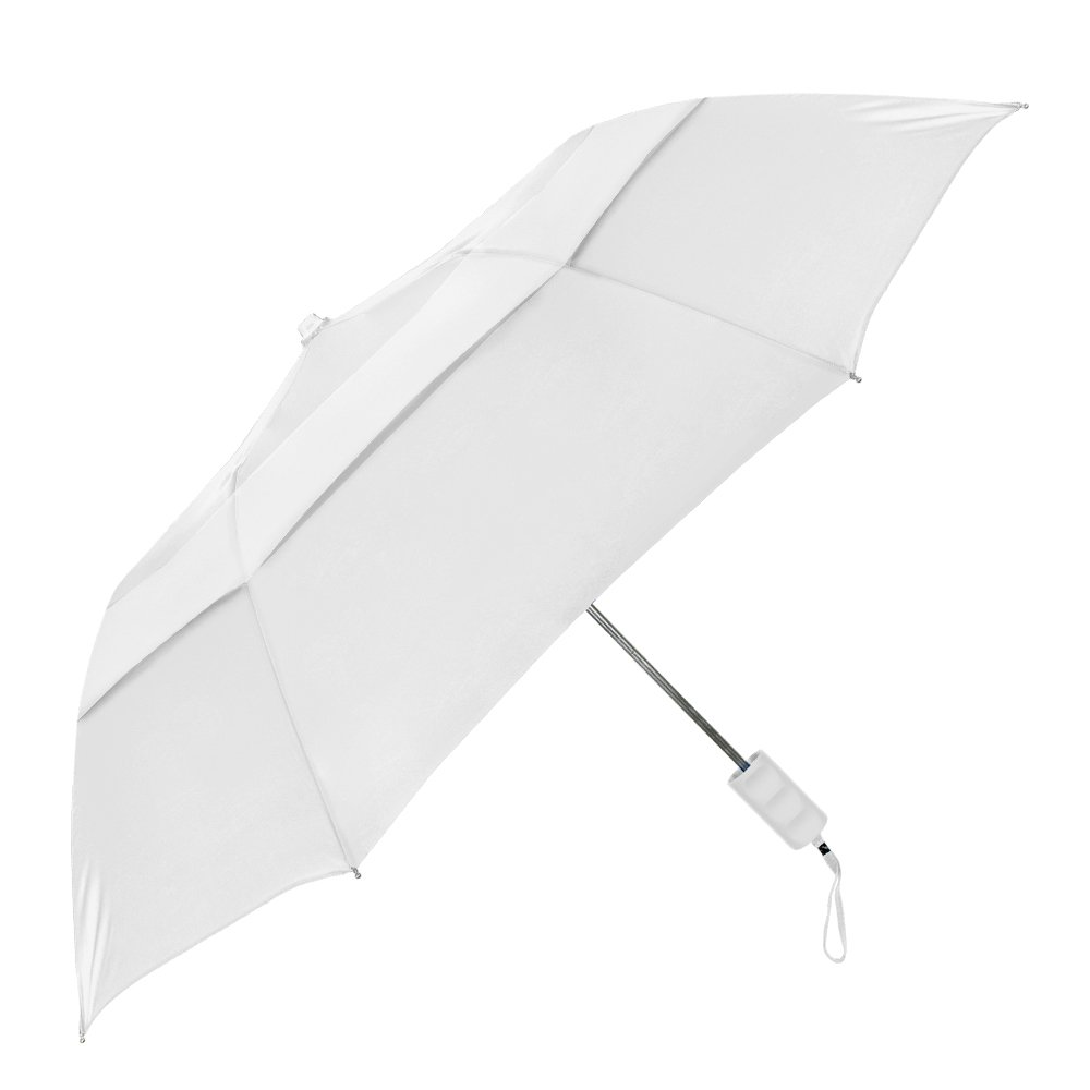 StrombergBrand''Travelers'' Auto-Open, Folding Compact Umbrella With Vented Canopy, White, One Size