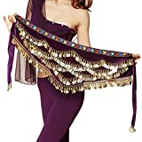 Pilot-trade Women's Triangular Belly Dancing Hip Scarf Wrap Skirt with Gold Coins Purple