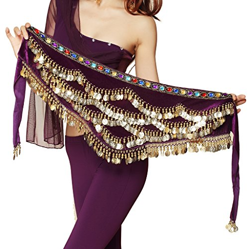 (Pilot-trade Women's Triangular Belly Dancing Hip Scarf Wrap Skirt with Gold Coins)