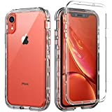 SKYLMW iPhone XR Case,Shockproof Three Layer Protection Hard Plastic & Soft TPU Sturdy Armor High Impact Resistant Cover Case for iPhone XR 2018(6.1 inch),Clear
