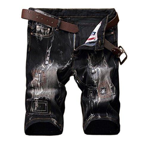 Men's Stylish Ripped Slim Jean Shorts Black 38