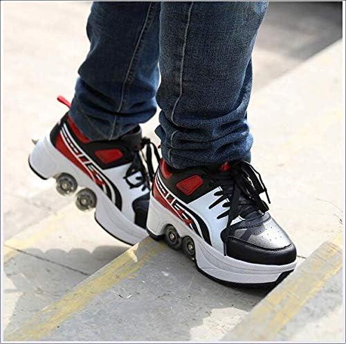 Wedsf Chaussures À roulettes Patins Déformation Poussoir Ajustable Fitness Shoes Peut Être Un Fitness Space Bottes Course Anti-Gravité,42