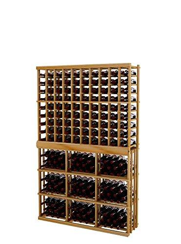 Vintner Series Wine Rack - Individual Bottle Wine Rack - 10 Columns with 3 Column Rectangular Bin for 244 Bottles - 6 Ft - Premium Redwood with Unstained