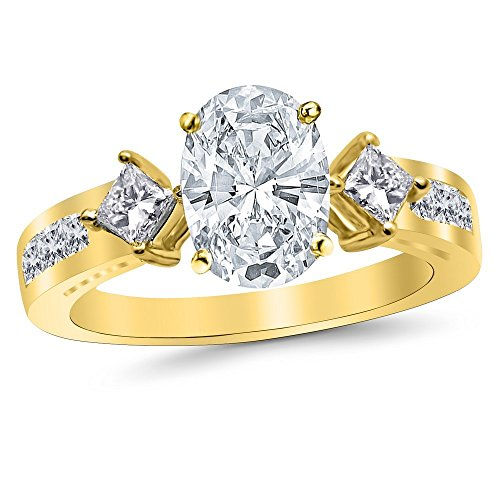 1.59 Carat t.w. 14K Yellow Gold Oval Channel Set 3 Three Stone Princess Diamond Engagement Ring with a 0.74 Ct E SI2 Center