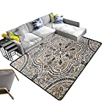 Contemporary Synthetic Rug Flower Ornamental Vintage Tile Classi Travertine Marble Texture Stain Resistant