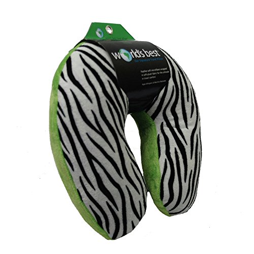 World's Best 2360 Feather Soft Microfiber Neck Pillow, Zebra, Lime, ()