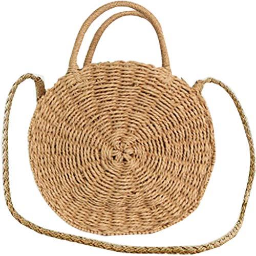 Donalworld Women Beach Bag Round Straw Crochet Shoulder Summer Bag Purse L Bwn (Grass Purse)