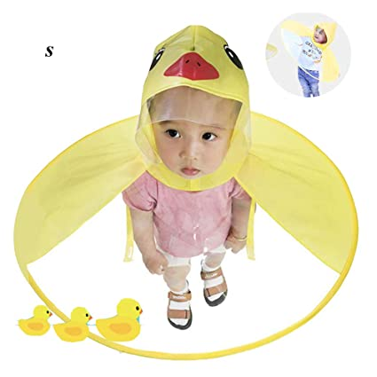 12cd9091 Duck Raincoat - Aolvo UFO Raincoat Cute Cartoon Duck Umbrella for Kids  Foldable Toddler Rain Jacket Hands Free Poncho Waterproof Cloak with Hood  for ...