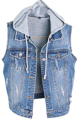 橋脚ヤギ素晴らしい良い多くのFly Year-JP 婦人用洗浄ボタンダウンノースリーブデニムベストジャケット