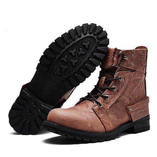 Martin red NANXZ All'aperto brown cinghie Boots cima Libero Tempo Uomo Pelle Modello In YwPTYq