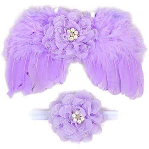 [Rush Dance Newborn Photography Fairy Angel Tinkerbell Princess Wings & Headband (Lavender)] (Disneyland Peter Pan Costume)