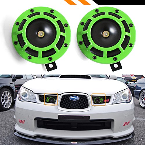 (UNIVERSAL TWIN 12V ELECTRIC COMPACT SUPER BLAST TONE LOUD GRILL MOUNT HORNS PAIR (GREEN))