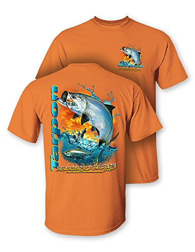 (Follow the Action Tarpon The Acrobats of The Flats Two-Sided Short Sleeve Fishing T-Shirt (XXX-Large))