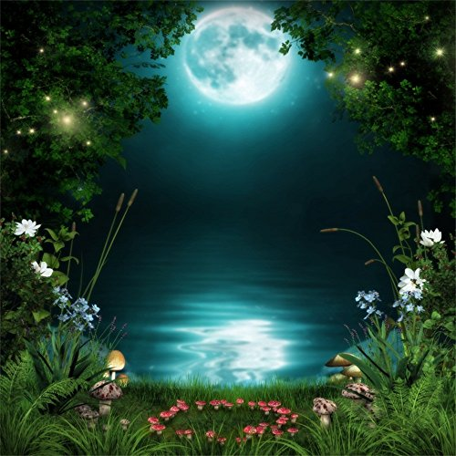 Leowefowa Full Moon Night Ponds Scenery Backdrop 5x5ft Vinyl Photography Backgroud Moonlight Water Reflection Green Grass Red Mushroom Blooming Flowers Fantasy Forest Landscape