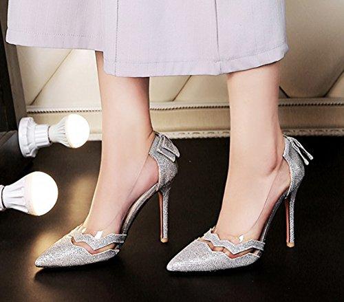 Aisun Femmes Sexy Coupe Basse Bout Pointu Robe Slip Sur Stiletto Talons Hauts Pompes Chaussures Avec Des Arcs Argent