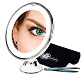 10x Magnifying Lighted Makeup Mirror - for Flawless Cosmetic Application & Tweezing Eyebrows, Portable Compact LED Travel Vanity Mirror, Cordless, Locking Suction with BONUS Bag and Tweezers