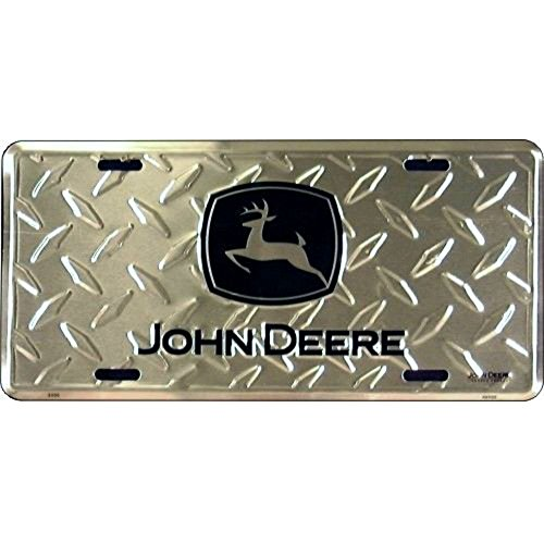 John Deere Embossed Metal Vanity Car License Plate Auto Tag Diamond Plate Embossed Car Metal License Plate