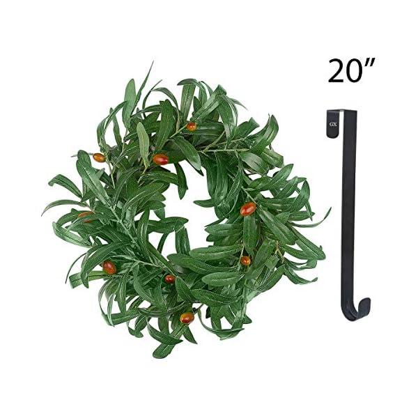 Fall Wreath for Front Door – 20In Olive Summer Wreath Artificial Green Door Wreaths with 15Inch Black Wreath Hanger Indoor Natural Vine Wreath Home Decor for Window, Outdoor, Wedding