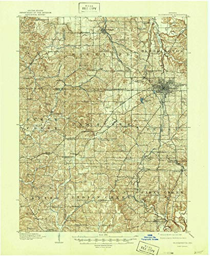 YellowMaps Bloomington in topo map, 1:62500 Scale, 15 X 15 Minute, Historical, 1910, Updated 1946, 20.8 x 17 in - ()