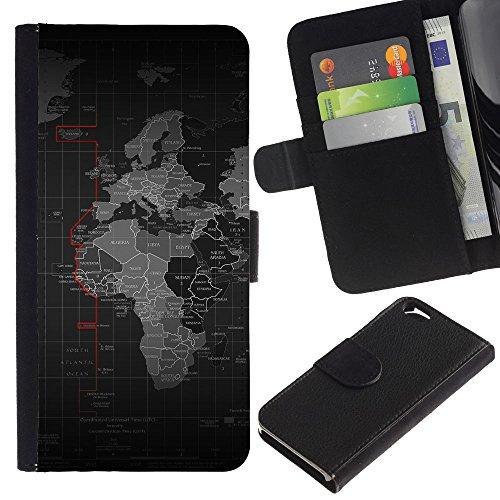 Funny Phone Case // Cuir Portefeuille Housse de protection Étui Leather Wallet Protective Case pour Apple Iphone 6 / Carte du monde /