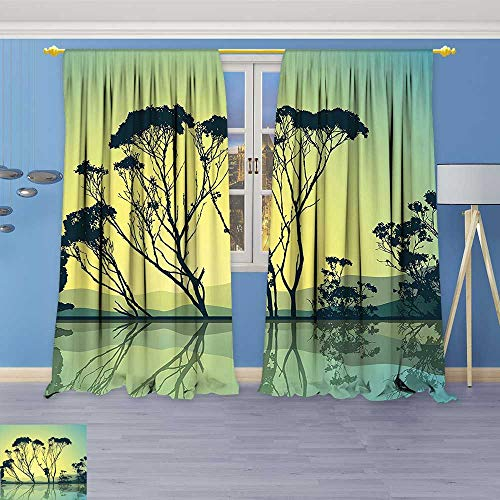 Clear Crystal Astoria (Philiphome Room Darkening/Thermal Insulated Grommet Window Curtains Crystal Tree Silhouettes with Reflections in The Water National Park Countyside Print Blue Set of Two Panels)