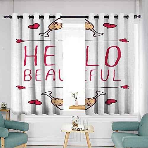 duommhome Hello Exquisite Curtain Saint Valentines Day Celebration Theme Text Typography and Glasses of Champagne Set of Two Panels 63