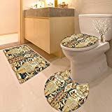 3 Piece Toilet Cover Set Collection Thai Gate at Wat Sirisa Tong Thailand Buddhism Architecture History Spiritual Picture 3D Digital Printing Rug Set