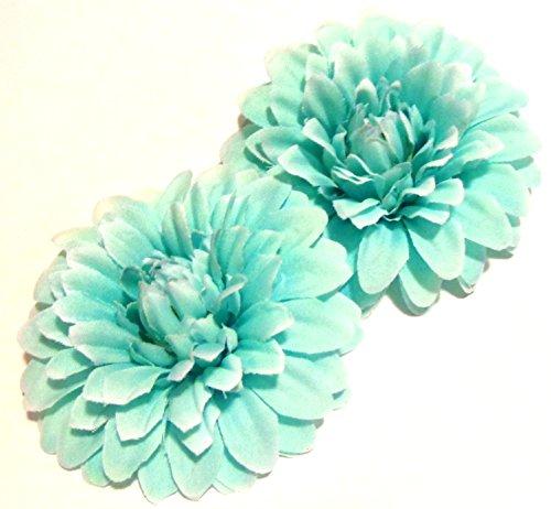Aquamarine Clip - Tiffany Blue Aquamarine Hair Flower Clips - Sold as a pair