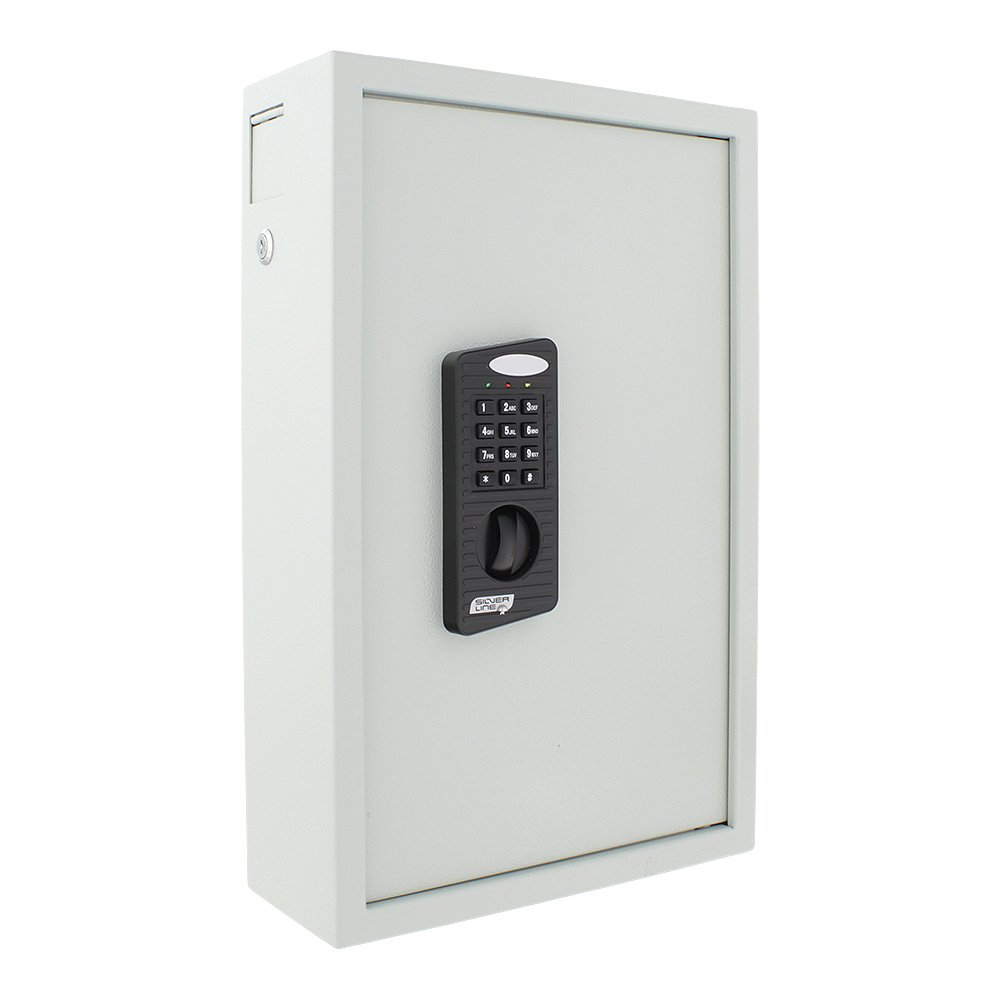 HomeDesign 006563 HDK-100EL - Cassaforte a chiave, colore: grigio chiaro