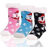Home Slipper Little Girls Boys Warm Cute Antiskid Fuzzy Christmas Gift House Indoor Slipper Socks 3 Pairs