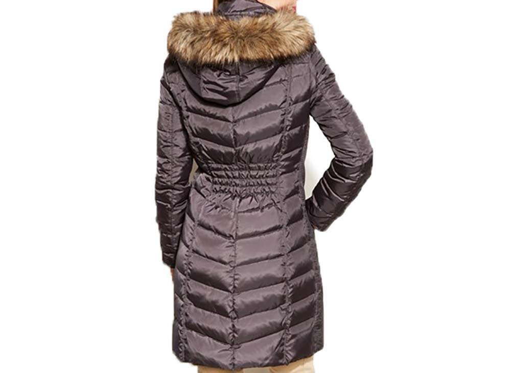 Michael Kors Women's Mid-Length Down Coat with Zip-Out Hood-Navy-S