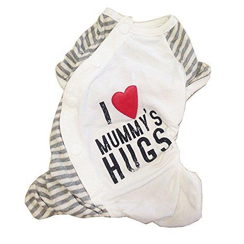 [BBEART Dog Pajamas, I Love Daddy & Mummy Pet Dog Cotton Clothes Puppy Jumpsuit Small Dogs Apparel Costume Onesie Pajamas (Mummy, XL)] (Dog Pair Costume Ideas)